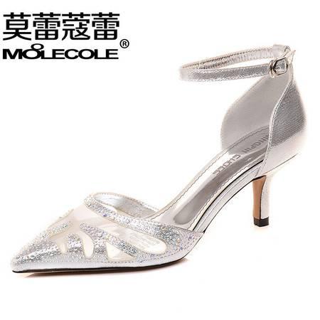 莫蕾蔻蕾春夏高跟鞋浅口单鞋网纱女鞋宴会尖头水钻细跟韩版包头凉鞋女婚鞋