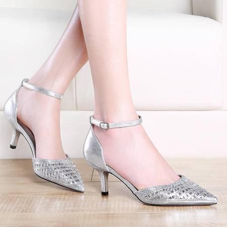 莫蕾蔻蕾夏季新款女凉鞋镂空女鞋细跟高跟鞋尖头网纱水钻时装包跟单鞋
