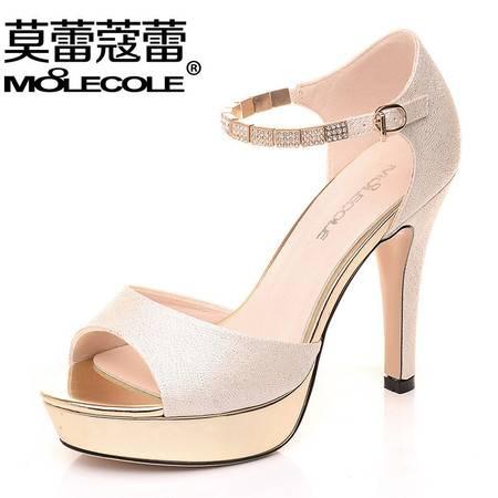 莫蕾蔻蕾2016新款鱼嘴鞋夏季凉鞋高跟鞋防水台金属性感夜店女鞋子