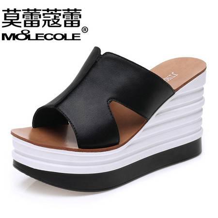 莫蕾蔻蕾坡跟凉拖鞋女夏松糕厚底女士拖鞋2016新款夏天室外白色百搭一字拖