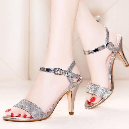 莫蕾蔻蕾夏季新款凉鞋女一字扣细跟高跟鞋OL女鞋性感时装鞋