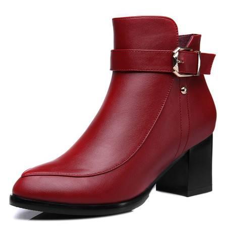 新款秋季女鞋短靴女春秋单靴粗跟裸靴马丁靴子短筒靴女靴