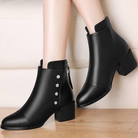 guciheaven/古奇天伦 秋冬季新款中跟马丁靴加绒女短靴粗跟高跟鞋女鞋铆钉女靴子