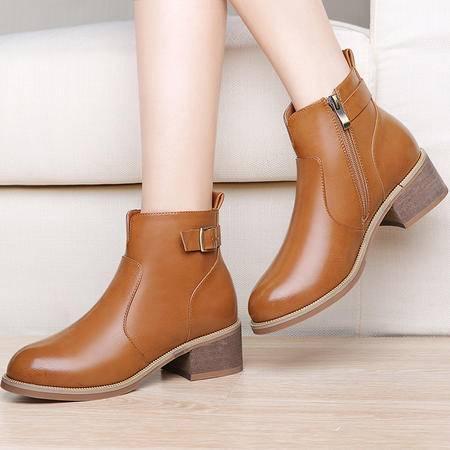 guciheaven/古奇天伦 粗跟短靴冬季英伦风女靴百搭加绒短筒靴子防水台马丁靴