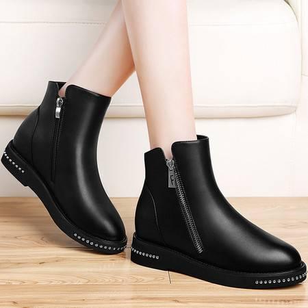 guciheaven/古奇天伦 马丁靴女冬季新款加绒女鞋短靴内增高圆头防水台平底女靴子