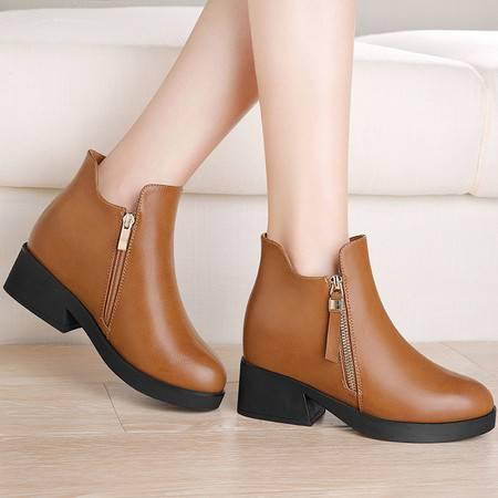 guciheaven/古奇天伦 侧拉链圆头女短靴内增高纯色平底女靴加绒保暖防水台女鞋