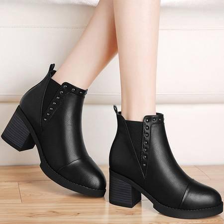 guciheaven/古奇天伦 复古粗跟短靴新款秋冬季女鞋加绒马丁靴中跟女靴子套筒冬靴
