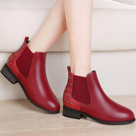 guciheaven/古奇天伦 粗跟短靴新款秋冬季加绒马丁靴铆钉套脚女鞋中跟女靴子