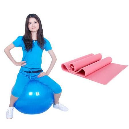 创悦 防滑瑜伽垫+安全专业美体燃脂健身球(送打气泵) 组合CY-9175  颜色随机