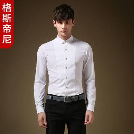 格斯帝尼2016男士春装新款长袖衬衫纯色小领修身衬衫C23567