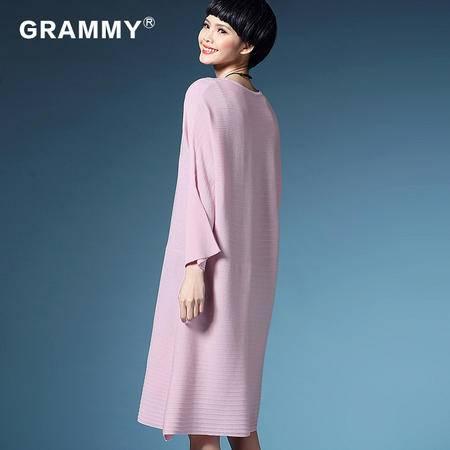 格莱美2016春装女款连衣裙圆领大码纯色针织连衣裙G19019