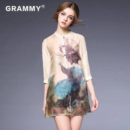 GRAMMY/格莱美2016春装女款连衣裙立领印花丝麻连衣裙G18042