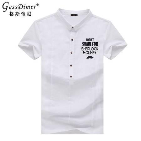 格斯帝尼2016男士夏季短袖T恤天然棉麻翻领修身男polo衫T15125