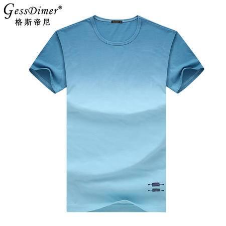 格斯帝尼2016夏季男士短袖T恤修身圆领渐变色男体恤T15115