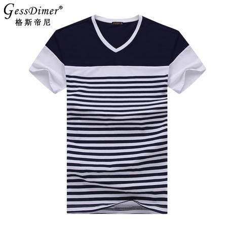 格斯帝尼2016夏季男士短袖T恤修身V领条纹男体恤T15114