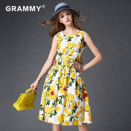 2016格莱美夏款女装修身时尚印花连衣裙G18061