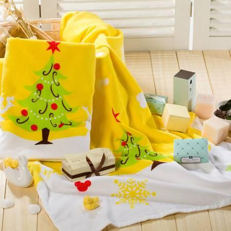 迪士尼 DISNEY 圣诞浴巾 68x130纯棉儿童浴巾 卡通 柔软吸水