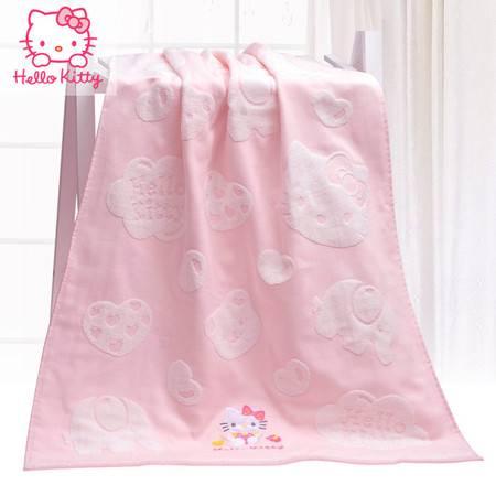 HELLO KITTY 儿童全棉毛巾套装 纱布提花朵朵云方巾 面巾 浴巾粉色三件套