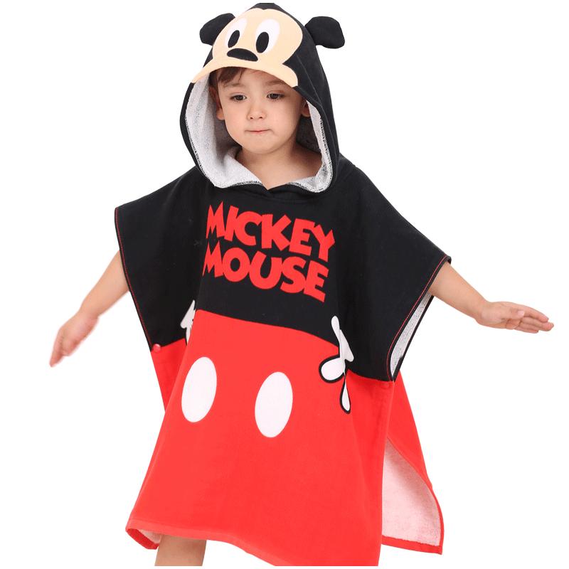迪士尼/DISNEY 卡通儿童连带帽浴巾 A类纯棉 宝宝斗篷披风