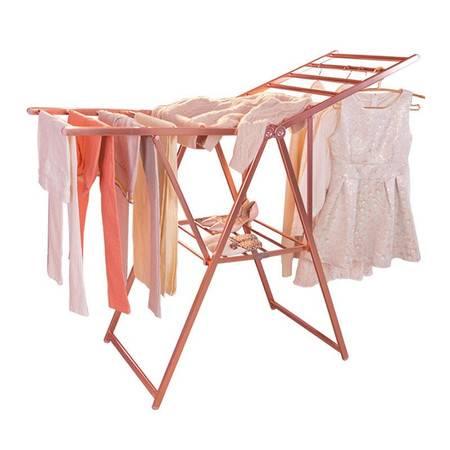 宝优妮 晾衣架 被子晒被架 落地晒衣折叠翼型室内不锈钢家用挂衣架 DQ9009-2