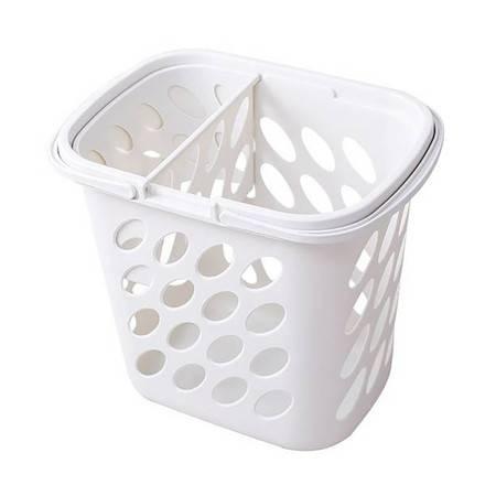 宝优妮 脏衣篮浴室脏衣服收纳筐 分格大号塑料长方形洗衣篮 DQ9069-1