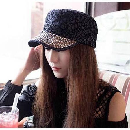 柏妃 潮女镶钻牛仔布鸭舌帽子 B235