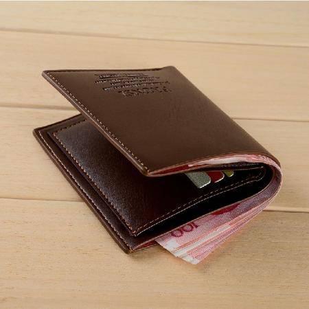 男士牛皮钱包 男 短款商务皮夹 韩版休闲两折钱夹票夹TSH015
