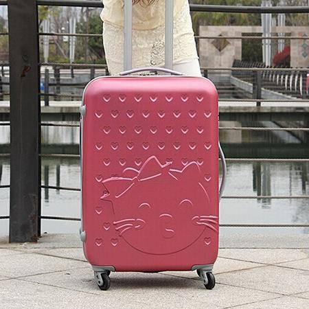 可爱乖乖猫女款行李箱拉杆箱万向轮旅行箱密码箱24寸mc175