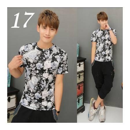 纳川 新款韩版夏季男士修身短袖碎花T恤NA30