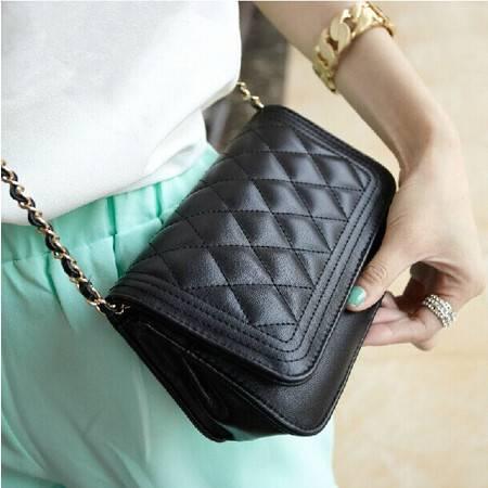 奥狄菲时尚女包新款韩版潮流女菱格链条单肩斜跨手拿迷你黑色小包包ody049