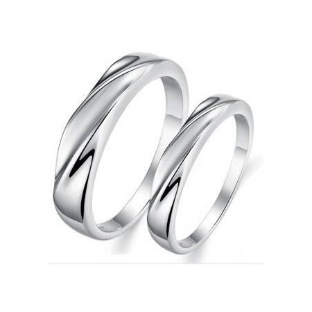 柏妃 时尚个性男女戒指银饰情侣对戒 B13