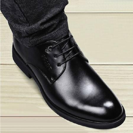 英伦商务皮鞋真皮男士休闲鞋 牛皮系带韩版婚鞋TSH042