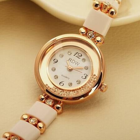 包邮礼物 爱琴海风格 清新间隔表带手表 流沙面水钻优雅女表 RDW013