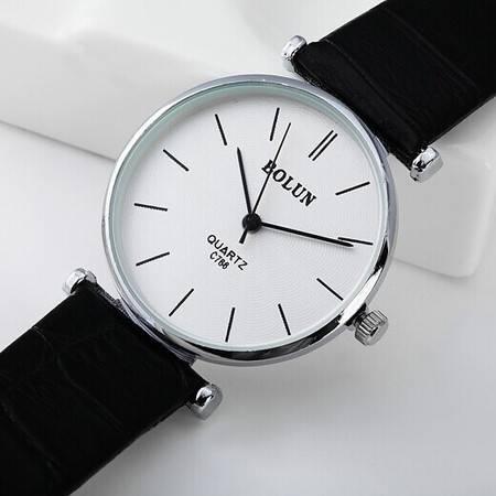 包邮七夕礼物Bolun真皮表带优雅气质手表男士女式手表 大气简约商务时装手表BL033