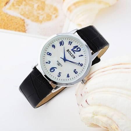 包邮父亲节礼物 Bolun真皮超薄间隔淡银色男表数字刻度 天然贝壳面真皮手表 BL030