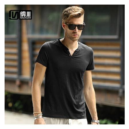 纳川夏季新款 男士短袖T恤纯色V领T 个性男款半袖欧美潮男装