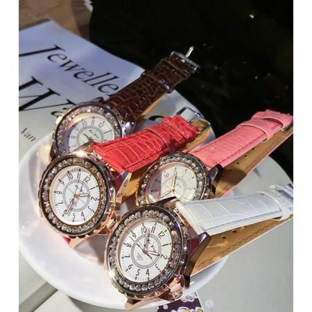 柏妃 镶钻时尚皮革石英女表糖果色高档手表 BA01