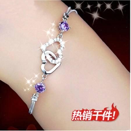 柏妃 925银 心相悦手链 韩版紫水晶情侣银饰首饰 B4288