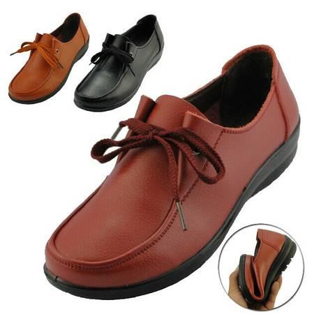 新款春鞋中老年真皮鞋休闲平跟软底中年妈妈孕妇鞋子女士单鞋女士皮鞋TSH076