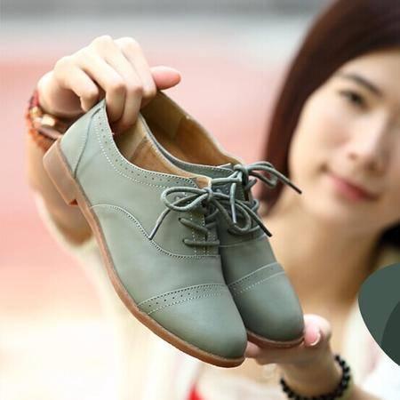 英伦风牛津鞋牛皮女平底鞋真皮复古鞋雕花休闲女鞋系带休闲平跟单鞋皮鞋女TSH080