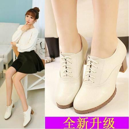 秋季女鞋单鞋女韩版中跟小白鞋粗跟高跟潮牛津英伦高跟鞋TSH094