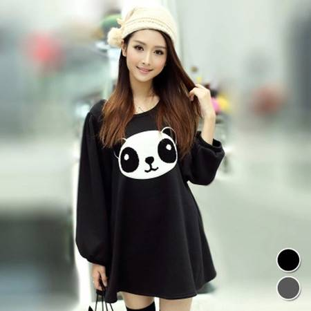 冬装新款韩版女装圆领加厚可爱熊猫泡泡袖T恤 NC662