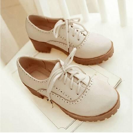 秋季新款布洛克雕花单鞋 学院风韩版厚底中跟四季女鞋子TSH117