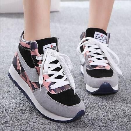 秋季新款迷彩厚底阿甘鞋增高运动鞋跑步休闲韩版女鞋学生潮TSH132