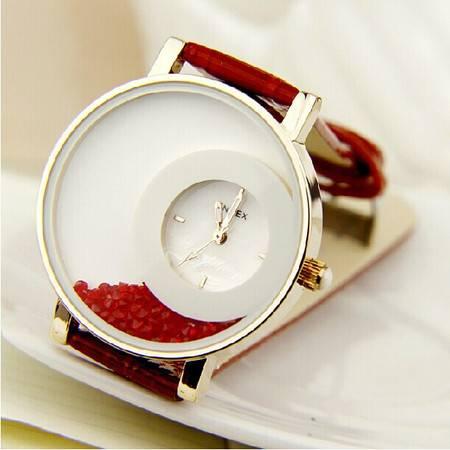 七夕礼物 Enmex 女神天鹅湖女表 转运红色纯美流沙 贝壳面手表QGN001
