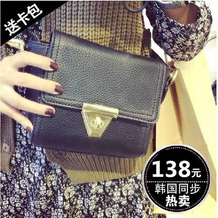 韩国订单金属扣小包包 荔枝纹复古小方包迷你单肩斜跨女包潮YG140