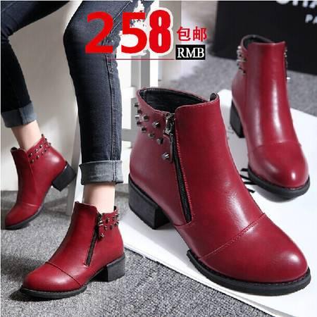 马丁靴潮女短靴秋冬季新款平跟短筒靴子英伦粗跟平底裸靴女鞋TSH133