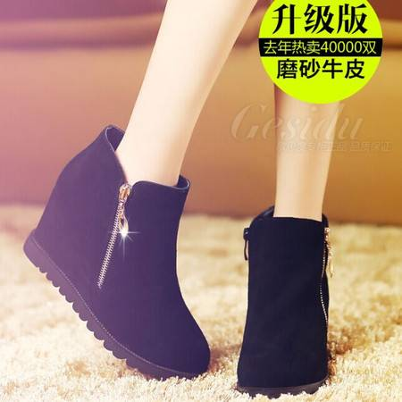 靴子女坡跟短靴单靴新款侧拉链高跟及裸靴黑色女靴秋冬新品TSH136