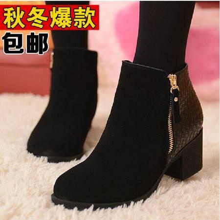 秋冬新款大码女鞋真皮粗跟马丁靴冬季女靴子机车靴40-41-43码短靴 TSH134