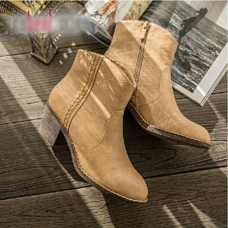 秋冬新款圆头粗跟中高跟靴子时尚英伦切尔西女短靴TSH139